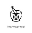 outline pharmacy tool icon isolated black simple vector image vector image