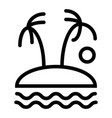 palm trees on island line icon tropical vector image vector image