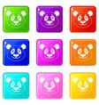panda icons 9 set vector image vector image