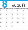 planning calendar August 2016 vector image vector image