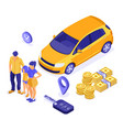 sale purchase rental sharing car isometric vector image vector image