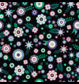 seamless pattern with flowers and leafs on black vector image