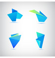 Set of abstract blue origami 3d logos