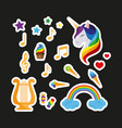 set of stickers unicorn with closed eyes harp vector image vector image