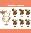 shadow matching game kids activity with robot vector image vector image