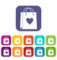 shopping bag icons set flat vector image