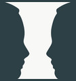silhouettes of two head vector image vector image