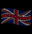 waving british flag pattern of exit direction vector image