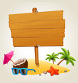 wood sign in beach icon vector image vector image
