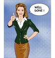 Pop art retro style woman showing thumb up hand vector image