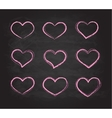 Retro scribble grunge chalk heart symbols vector image
