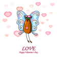Valentine card with a fly vector image