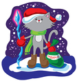 Amusing cat Santa Claus vector image