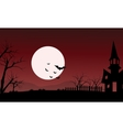 At night silhouette of castle and bat vector image vector image