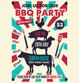 bbq party poster with chicken pig sheep cow vector image vector image