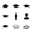 black academic cap icons set vector image vector image