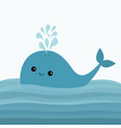 blue whale and fountain sea ocean water with vector image vector image