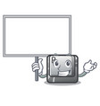 bring board r button installed on cartoon keyboard vector image vector image