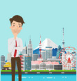 businessman thinking with japan buildings landmark vector image vector image