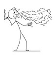 cartoon of man with cigarette and drink with fire vector image vector image