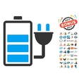 Charge Battery Icon With 2017 Year Bonus Symbols vector image