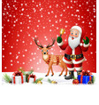 christmas background with santa clause ringing bel vector image