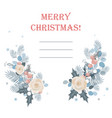 christmas frame made fir branches roses and vector image vector image