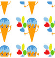 color seamless pattern of cartoon ice cream in a vector image