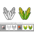 corn thanksgiving day linear icon editable stroke vector image vector image