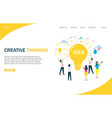 creative thinking website landing page vector image vector image