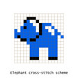 cross-stitch pixel art elephant set vector image vector image