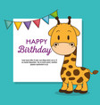 cute and little giraffe birthday card vector image vector image