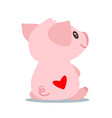 cute pink pig sitting backwards vector image vector image