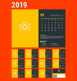 desk calendar for 2019 year design template with vector image vector image