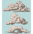 Detailed vintage style clouds set vector image vector image