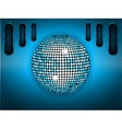 Disco ball over blue brushed metallic panel vector image vector image