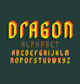 dragon alphabet yellow red stylized font vector image vector image
