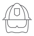 firefighter helmet thin line icon equipment and vector image vector image