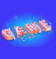 game zone happy party typography alphabet banner vector image