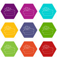 gift icons set 9 vector image vector image