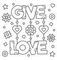 give love coloring page vector image vector image