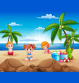 happy kids sitting on the sand beach vector image vector image
