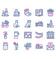 hygge color linear icons set vector image vector image