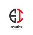 initial letter ei creative elegant circle logo vector image vector image
