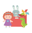 kids toys object amusing cartoon red box vector image vector image