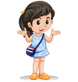 Little asian girl with handbag vector image vector image