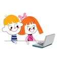 little boy and girl with laptop computer vector image vector image