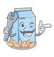 mechanic almond milk in the cartoon shape vector image