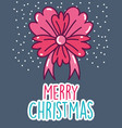 merry christmas celebration flower ribbon snow vector image vector image