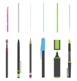 Pen pencil marker brush vector image vector image